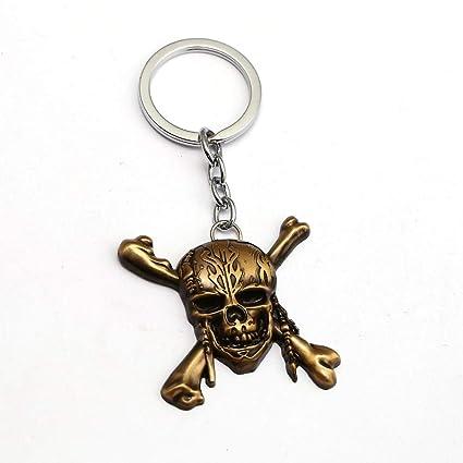 TUDUDU Piratas del Caribe Llavero Cráneo Jack Llavero Anillo ...