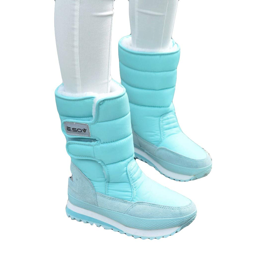 Dainzuy Women Snow Boots Winter Solid Colors Plush Flat Causal Outdoor Waterproof Shoes with Fur Lined Warm Boots by Dainzuy Women's Shoes