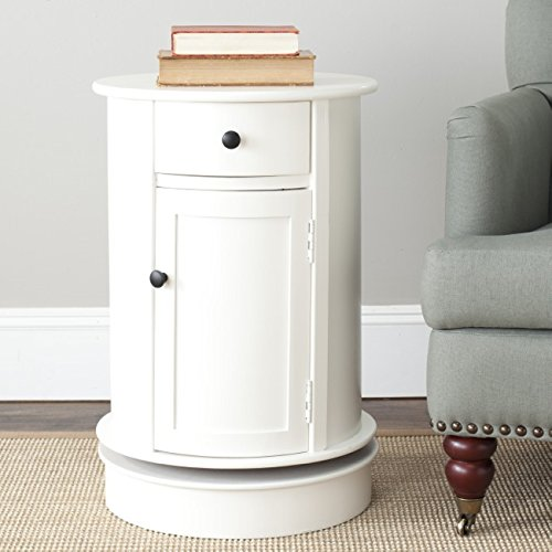 Safavieh American Home Collection Lexington Oval Swivel Storage End Table, Distressed Cream