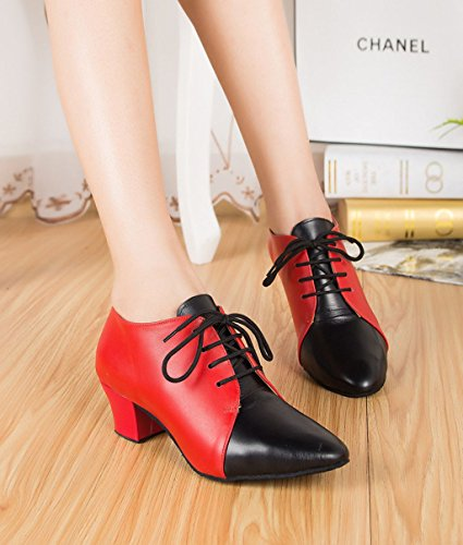 Salsa Shoes Lace TDA Latin Ballroom Dance Shoes Pumps Leather Tango Red Women's up WFzwzHUq