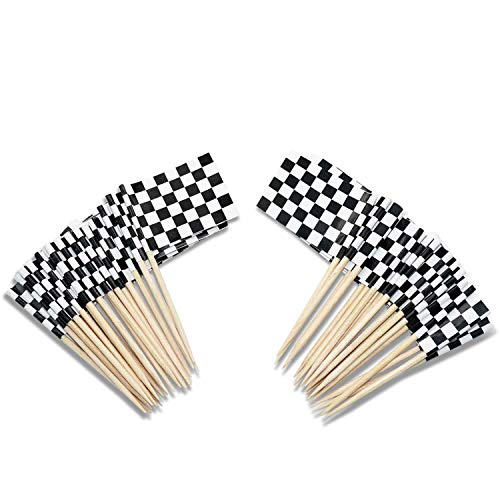 200 Pack Checkered Racing Flag Party Cupcake Picks Toothpick, Racing Flag Party Cupcake Toppers -