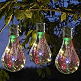 US Fast Shipment Clearance Waterproof Solar Rotatable 4 LED Light Lamp Bulb for Garden Decoration National Day Xmas Tree Outdoor Decorations (Clear)
