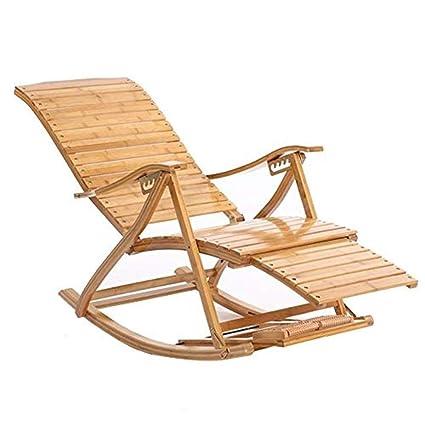 Tumbona Silla Mecedora de bambú Silla de Descanso para ...