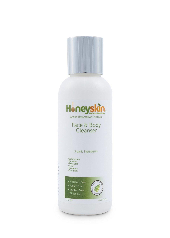 Face & Body Wash - for Sensitive & Dry Skin - Treatment for Eczema, Rosacea, Psoriasis, Blemish & Acne - with Manuka Honey & Aloe Vera - Anti Aging & Anti Bacterial Formula (4oz)