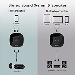 Esinkin Bluetooth Receiver, Bluetooth Audio Adapter (NFC Enabled) for Stereo Sound System with Long Range and Acoustics