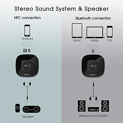 Esinkin Bluetooth Receiver Wireless Audio Adapter 4.0(NFC-Enabled)for HD Music Stereo Sound System
