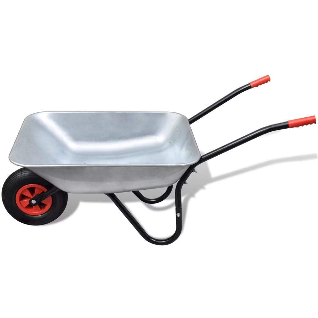 Carretilla con 2/ruedas neum/áticos de aire con Llanta de acero revestimiento acero 100L resistente