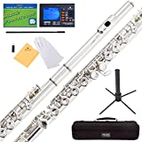 Mendini Closed Hole C Nickel Silver Flute with Tuner, Stand, 1 Year Warranty, Case, Cleaning Rod, Cloth, Joint Grease, and Gloves - MFE-N+SD+PB+92D