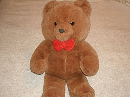 Dakin Vintage 1985 Dakin Fun Farm Honey Jo Teddy Bear 22-Inches with Red Bow Tie