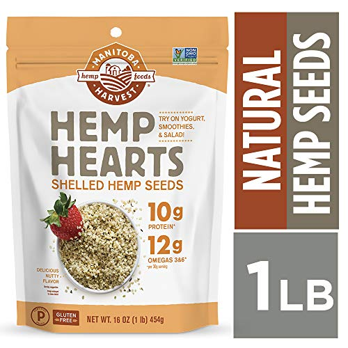 Manitoba Harvest Hemp Hearts Raw Shelled Hemp Seeds, 1lb; with 10g Protein & 12g Omegas per Serving, Non-GMO, Gluten Free - Packaging May Vary ()