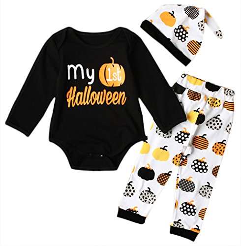 3pcs My First Halloween Newborn Kids Infant Baby Girls Clothes