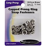 Snap Source Capped Long-Prong Snaps Size 16 10/Pkg-Antique Brass