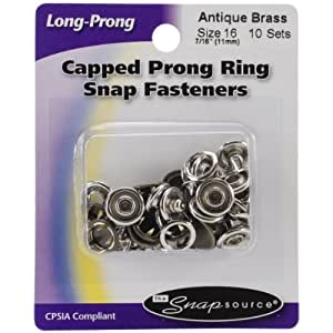 Snap Source Capped Long-Prong Snaps Size 16 10/Pkg-Antique Brass