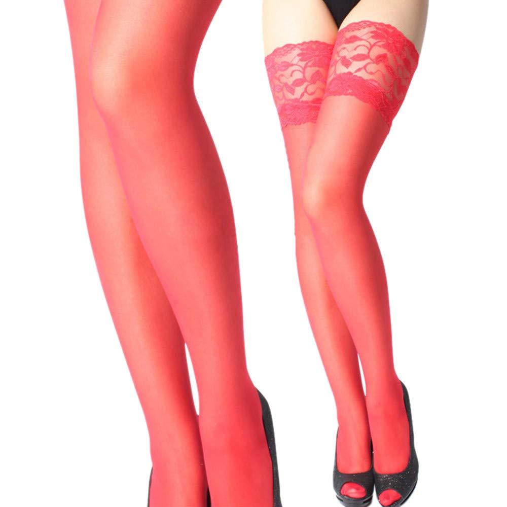 LuckyGirls Damen Halterlose Str/ümpfe Spitze hohe Str/ümpfe Pink