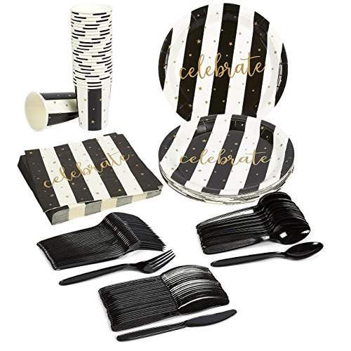 Black & Gold Disposable Dinnerware Set - Serves 24 - Celebration Party Supplies - For New Years, Anniversary, Weddings, Birthdays - Includes Plastic Knives, Spoons, Forks, Paper Plates, Napkins, Cups