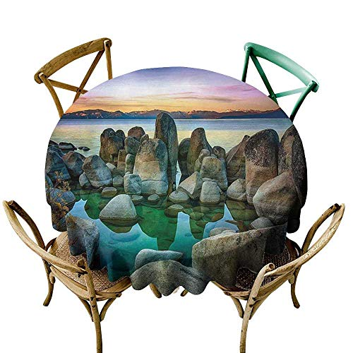- cobeDecor Lake Elegant Waterproof Spillproof Polyester Fabric Table Cover Various Sized Condensed Rocks in River at Evening Time When Lamps Down Marine Theme D70 Grey Green