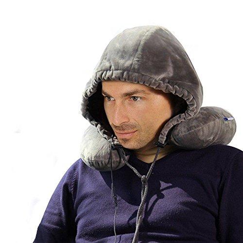 ์Nut Shop Hoodie Travel Pillow - Airplane Neck Pillow with Music Earbuds - Washable, with
