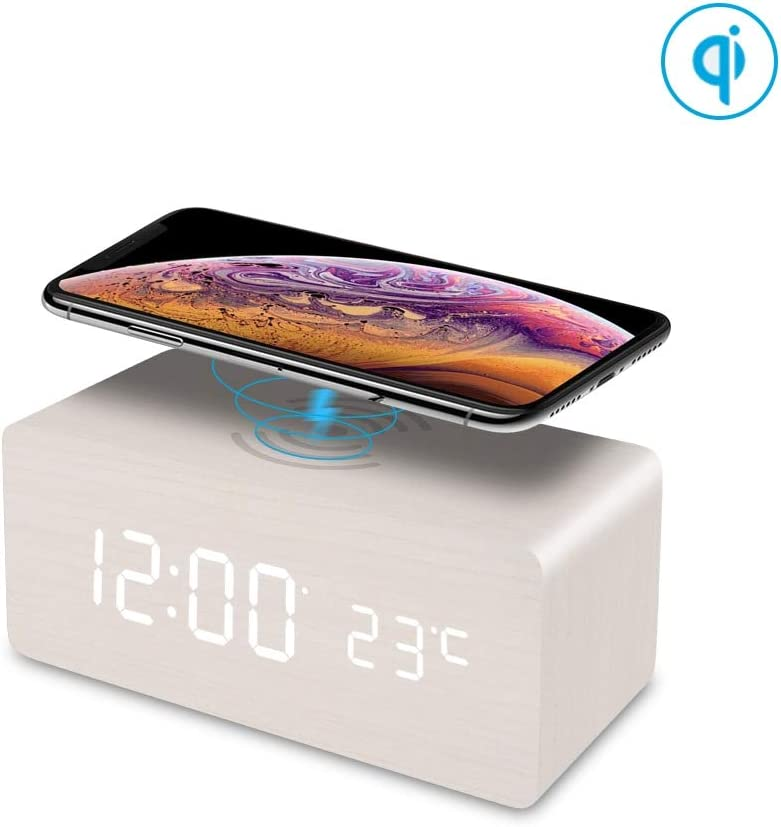 FiBiSonic - Despertador Digital con Cargador inalámbrico para teléfonos móviles equipados con Qi, Despertador de Madera con 3 alarmas, para Dormitorio/Oficina