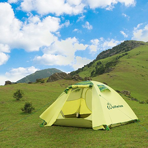 Cheap Camping Tents.  WolfWise 2-Person 3-4 Season Backpacking Tent with USB LED Light String Green