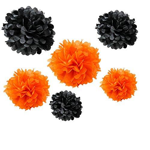 Somnr® Set of 12PCS Mixed Sizes Orange Black Tissue Paper Flower Pom Poms Pompoms Wedding Birthday Party Nursery - Decorations Nursery Orange