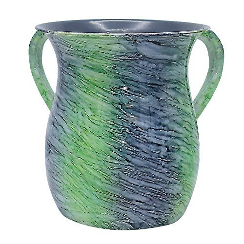 The Kosher Cook Stainless Steel Netilat Yadayim Cup - Aquatic Blue Green Painted Design - Looks Like Ceramic - Rust, Break and Crack Proof Negel Vasser Cup - Judaica Gift - Ceramic Wash Cup