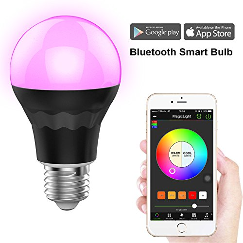 MagicLight Plus Bluetooth Smart LED Light Bulb - Dimmable Multicolored Color Changing LED Night Light - Smartphone Controlled Sunrise Wake Up LED Lights - 7.5 Watts (60Watts Equivalent) (Light Bulbs Timer compare prices)