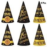 Amosfun 2020 New Year Party Hats Glitter Cone DIY Paper Hats for Kids Adult Party Supplies (9pcs,Black Gold)