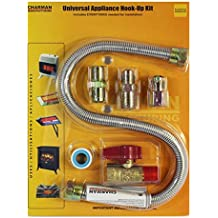 """Universal Gas Appliance Installation Kit - 22"""" One-Stop Range Hook-Up - Stainless Steel Flexible Connector Line - ½"""" Brass Flare Shut Off Valve & Couplings - Water Heater Stove Fireplace"""