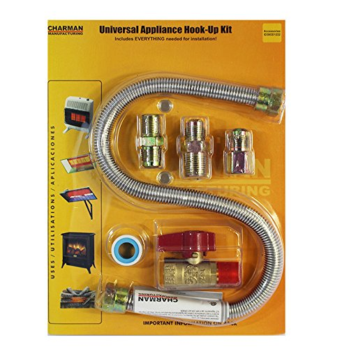 "Universal Gas Appliance Installation Kit - 22"" One-Stop Range Hook-Up - Stainless Steel Flexible Connector Line - ½"" Brass Flare Shut Off Valve & Couplings - Water Heater Stove Fireplace"