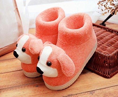 de Zapatos Zapatillas de Zapatos de de algodón Calientes Naranja Antideslizante Lindo Dibujos Botas Mujer Botas Animados caseros Invierno caseros DANDANJIE TqYgwP