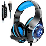 Beexcellent USB Headset, 7.1 Surround Sound Computer Gaming Headset, PC Headset with Noise Canceling Mic Volume Control LED Light for PC Mac Laptop