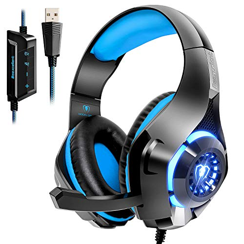 Beexcellent USB Headset, 7.1 Surround Sound Computer Gaming Headset, PC Headset with Noise Canceling Mic Volume Control LED Light for PC Mac Laptop (Best Noise Cancelling Gaming Headset)
