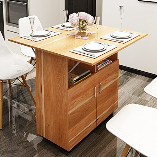 DL furniture - Wood Drop-Leaf Kitchen Island & Cart | Dining Table | Rolling Storage | Wine Rack | Natural Wood (Need to Assemble)