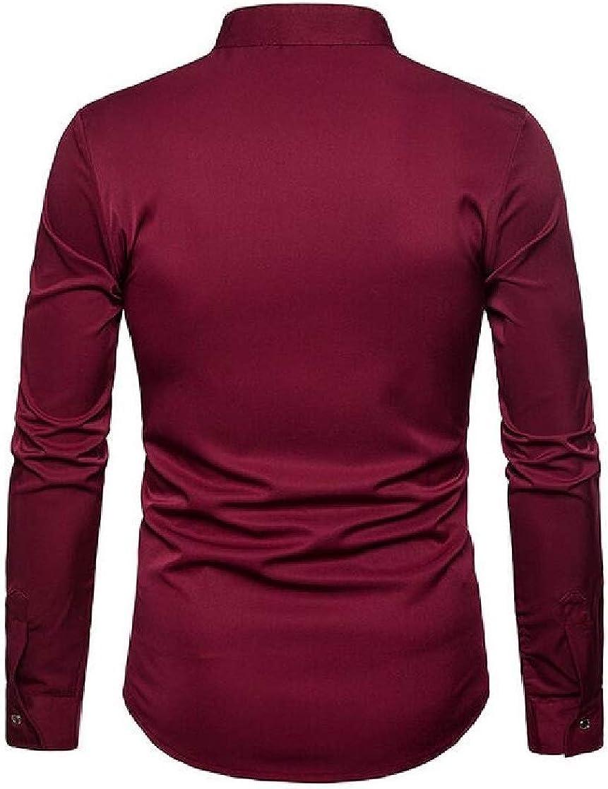 Macondoo Mens England Banded Collar Long-Sleeve Regular Fit Button Up Jacquard Shirts