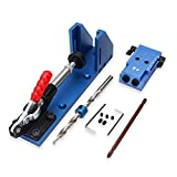 HITSAN Woodworking Tool Pocket Hole Jig with Toggle Clamp and Step Drill Bit One Piece