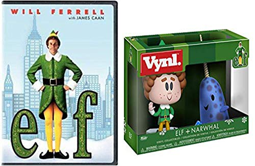 Christmas Elf & Narwhal Figures + Elf DVD & Collectable Vinyl Figure Scene Bundle Will Ferrell
