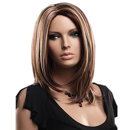 Kamo New Stylish Women & Girls Cute Straight Fashion Wig Heat Resistant Synthetic Replacement Wigs + Wig Cap