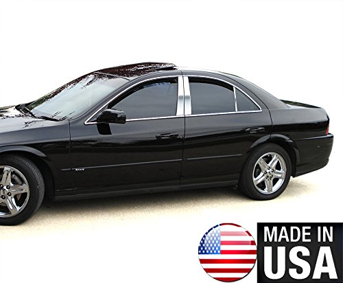 Made in USA! Works With 99-09 Lincoln LS 6 PC Stainless Steel Chrome Pillar Post Trim