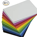 EVA Foam Handicraft Sheets (80 Pack - 8.25 x 6 inches) Assorted Colorful Crafting Sponge for DIY Projects,...