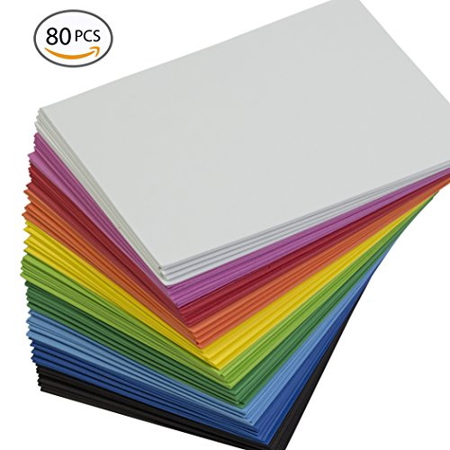 EVA Foam Handicraft Sheets (80 Pack - 8.25 x 6 inches) Assorted Colorful Crafting Sponge for DIY Projects, Classroom, Parties and More by My Toy House | Thick and Soft (Foam Arts And Crafts)