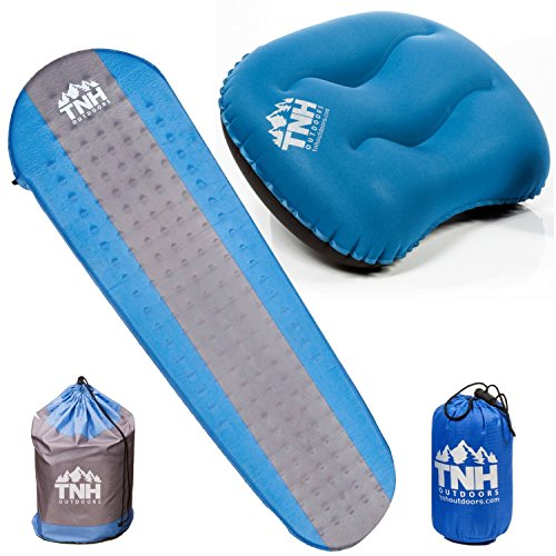 TNH Outdoors Smart Bundle 1 Premium Self Inflating Sleeping Pad Inflatable Camping Pillow