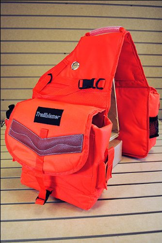 HILASON Orange 600D Poly Deluxe Horse Trail Riding Saddle Bag Pack Water Bottles (Deluxe Trail Saddle)