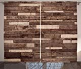 Ambesonne Wooden Curtains 2 Panel Set, Wall Floor Textured Planks Panels Picture Art Print Grain Cottage Lodge Hardwood Pattern, Living Room Bedroom Decor, 108 W X 90 L Inches, Brown