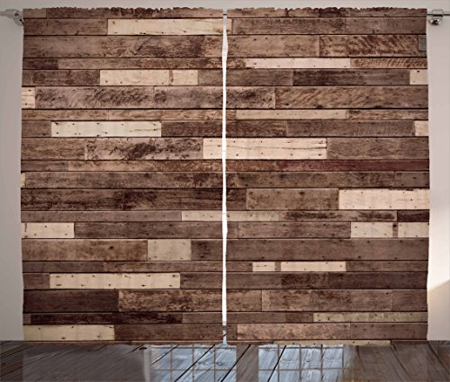 Wooden Curtains 2 Panel Set by Ambesonne, Wall Floor Textured Planks Panels Picture Art Print Grain Cottage Lodge Hardwood Pattern, Living Room Bedroom Decor, 108 W X 90 L Inches, - Wood Pattern Brown