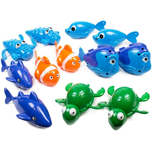 Boley (12 Pack Wind-Up Sea Animals Bath Toy - Adorable Sea Animal Toys for Babies and Toddlers - Great as Party Favors for Birthdays, Baby Showers, and More