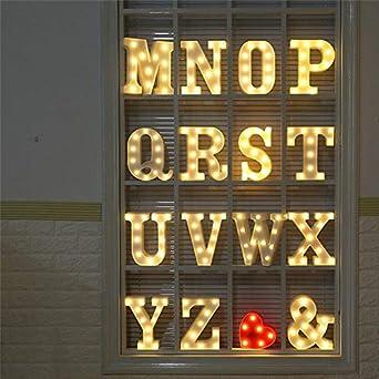 Letter A-Z Lighting up Words for Birthday Wedding Party Bar Bedroom Wall Hanging Decoration DFVVR Alphabet LED Lights Sign