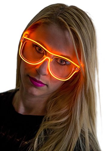 Neon Nightlife Orange Frame/Clear Lens Wayfarer 55mm Light Up - Sunglasses Cheap Electric