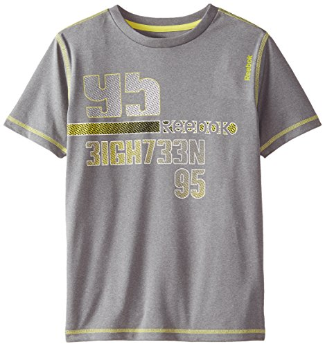 Reebok Big Boys' Sport Short Sleeve T-Shirt, Heather Gray, S (8)