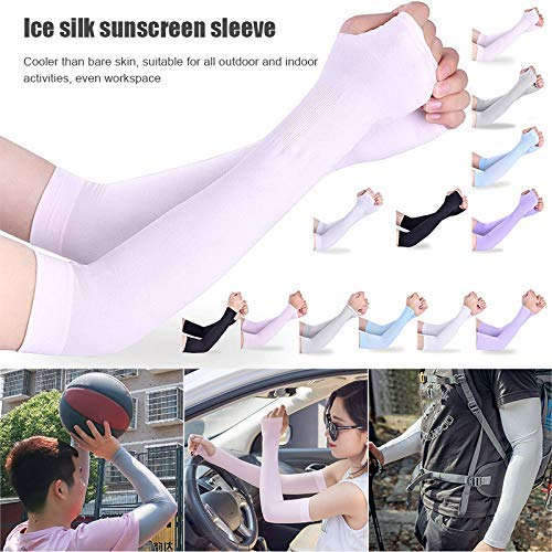 Delisouls Arm Sleeves Sunblock Protective Compression Warmers Cuffs Thumb Holes for Outdoor Cycling 2Pairs Sun UV Protection Arm Cooling Ice Sleeve