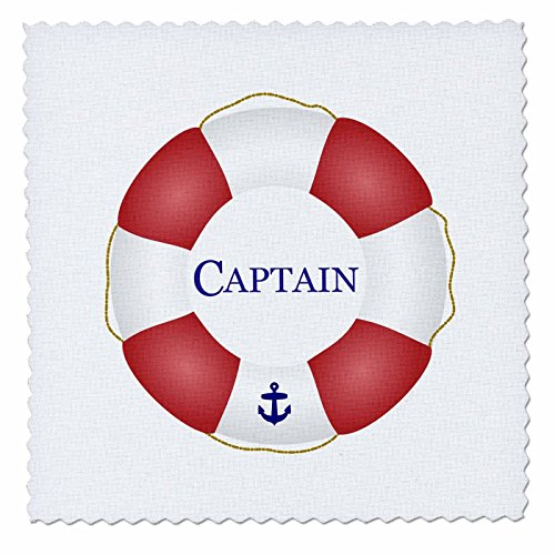 3dRose Captain Lifesaver - Ship Life Preserver - Nautical Boat Ocean Sailing - Yacht Sailor - Sea Fisherman - Quilt Square, 14 by 14-Inch (qs_112924_5)
